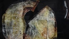 1. IV-VI-MMIV,200x210cm,2014, collagraphie und lack auf industrielle PVC-Folie_Katrin Koenig